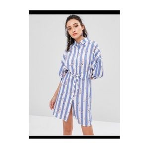 Birds stripes shirt dress